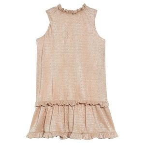 Late Spade Girls Metallic Ruffle Dress, size 5.